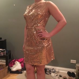 Sparkly rose gold formal dress w/ cut out sides